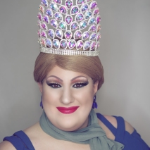 Ida Carolina in the Miss Midwest Comedy Queen crown
