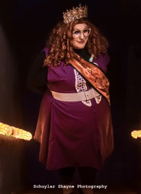 Ida Carolina dressed as Myrtle Snow from American Horror Story Coven in the Miss Salem Witch crown