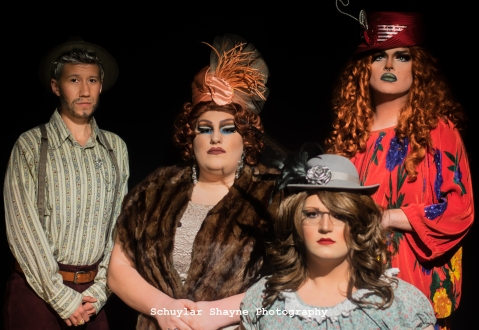 Ida Carolina, Sylvur Cox, Dinah Loneliness, and Beulah Land looking stoic