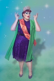 Ida Carolina in a crown and sash dressed as Endora from Bewitched
